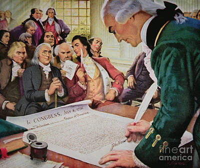 Revolutionary War Of 1776 Painting - John Hancock Signs The American Declaration Of Independence, 4th July 1776 by American School