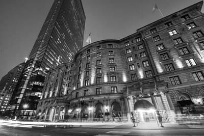 Photograph - John Hancock Tower Fairmont Copley Plaza Boston Ma Black And White by Toby McGuire