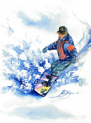 Painting - John-john On Snowboard by John D Benson