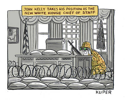 Drawing - John Kelly Takes His Position by Peter Kuper