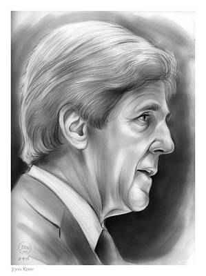 Democrat Drawing - John Kerry by Greg Joens