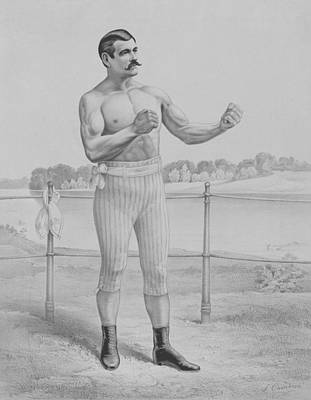 Drawing - John L. Sullivan - Bare-knuckle Boxer  by War Is Hell Store