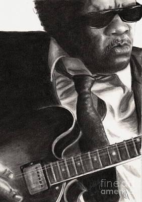 Grayscale Drawing - John Lee Hooker by Kathleen Kelly Thompson