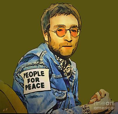 Drawing - John Lennon 02 by Sergey Lukashin
