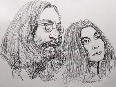 John Lennon Art Drawings Drawing - John Lennon And Yoko Ono by Aurelio Carbone