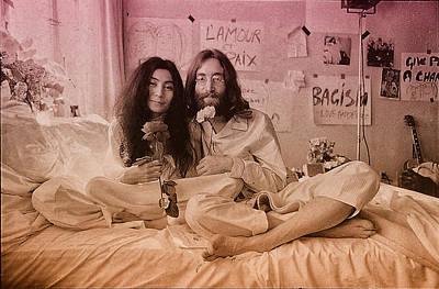 Ringo Photograph - John Lennon And Yoko Ono Peace by Hans Wolfgang Muller Leg