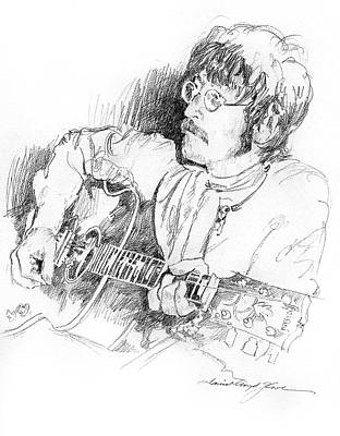 The Beatles Drawing - John Lennon by David Lloyd Glover