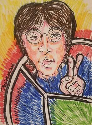 A Hand-thrown Drawing - John Lennon Give Peace A Chance by Geraldine Myszenski