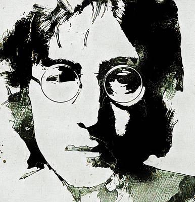 Humanitarian Mixed Media - John Lennon Grunge Portrait by Dan Sproul