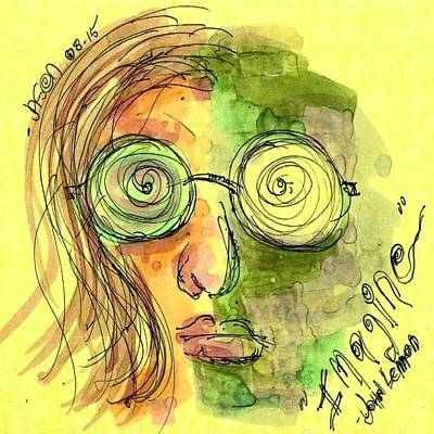 Drawing - John Lennon Imagine by Jason Nicholas