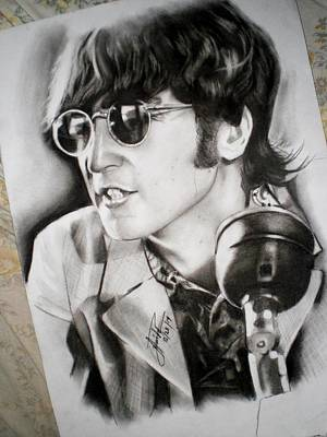 Fab Four Drawing - John Lennon In 1966 Press Conference by Mean Mustard