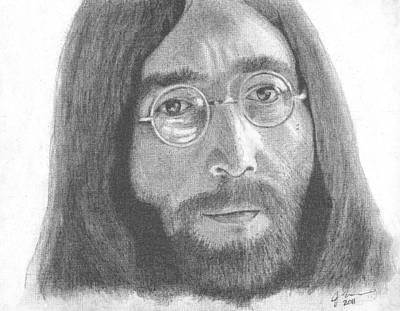 Lennon Drawing - John Lennon by Jeff Ridlen
