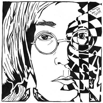 John Lennon Maze Art Print by Yonatan Frimer Maze Artist