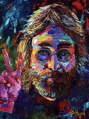 Wall Art - Painting - John Lennon Peace by Debra Hurd
