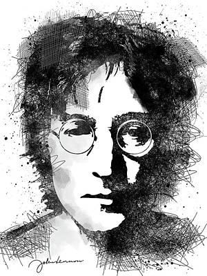 Digital Art - John Lennon Scribbles Bw Portrait by Mihaela Pater
