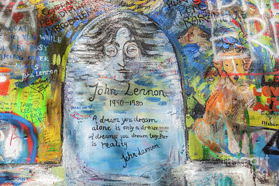 Photograph - John Lennon Wall, Prague, Czech Republic. Graffiti Background by Michal Bednarek