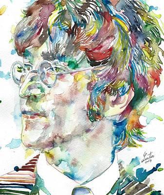 Painting - John Lennon - Watercolor Portrait.10 by Fabrizio Cassetta