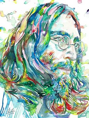 Painting - John Lennon - Watercolor Portrait.11 by Fabrizio Cassetta