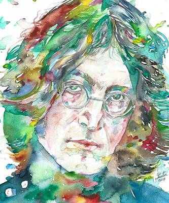 Painting - John Lennon - Watercolor Portrait.12 by Fabrizio Cassetta
