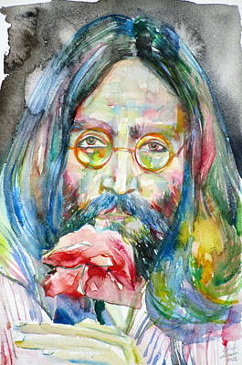 Painting - John Lennon - Watercolor Portrait.9 by Fabrizio Cassetta