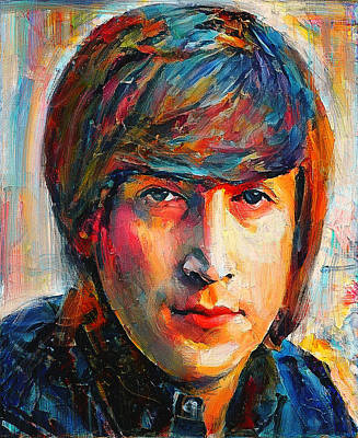 Digital Art - John Lennon Young Portrait by Yury Malkov