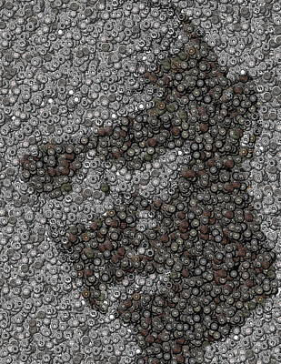 John Locke Dharma Button Mosaic Art Print by Paul Van Scott