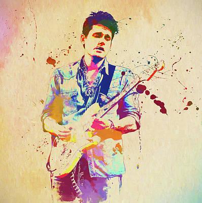 Painting - John Mayer Paint Splatter by Dan Sproul