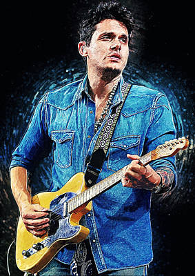Musicians Digital Art Rights Managed Images - John Mayer Royalty-Free Image by Zapista OU