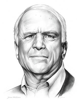 Politicians Drawings - John McCain by Greg Joens