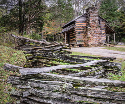 Split Rail Fence Photograph - John Oliver Place - Great Smoky Mountains National Park by Wes Iversen