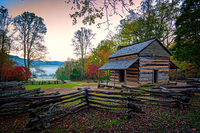 Mountain Royalty-Free and Rights-Managed Images - John Oliver Place in Cades Cove by Rick Berk