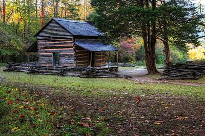Photograph - John Olivers Cabin As Autumn Begins In The Smoky Mountains by Carol Montoya