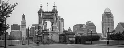 Photograph - John Roebling Bridge And Cincinnati Skyline Black And White Panoramic  by Gregory Ballos