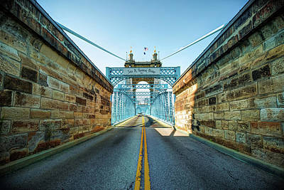 Photograph - John Roebling Bridge Entrance - Cincinnati Ohio by Gregory Ballos