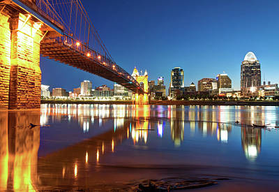 Photograph - John Roebling Bridge Reflections - Cincinnati Ohio Skyline by Gregory Ballos