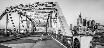 Photograph - John Seigenthaler Pedestrian Bridge And Nashville Skyline - Black And White by Gregory Ballos
