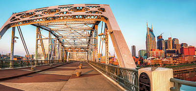 Photograph - John Seigenthaler Pedestrian Bridge And Nashville Skyline by Gregory Ballos