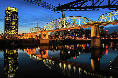 Photograph - John Seigenthaler Pedestrian Bridge by Josh Bryant