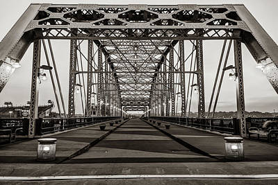 Photograph - John Seigenthaler Pedestrian Bridge - Nashville Tennessee - Sepia Edition by Gregory Ballos
