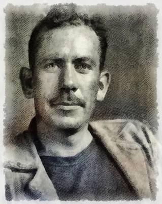 Einstein Painting - John Steinbeck, Author by John Springfield