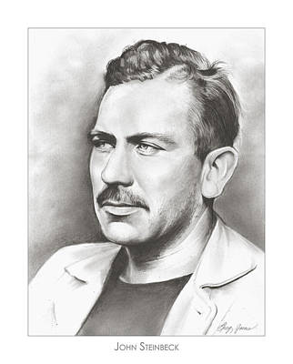 Author Drawing - John Steinbeck by Greg Joens
