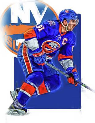 Mixed Media - John Tavares New York Islanders Oil Art Series 1 by Joe Hamilton