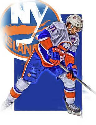 Mixed Media - John Tavares New York Islanders Oil Art Series 2 by Joe Hamilton