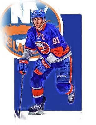 Mixed Media - John Tavares New York Islanders Oil Art Series 3 by Joe Hamilton