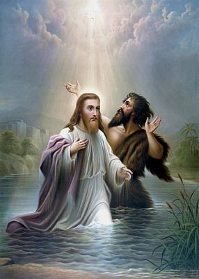 River Jordan Painting - John The Baptist Baptizes Jesus Christ by War Is Hell Store