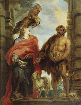 Baptist Painting - John The Evangelist And Saint John The Baptist by Anthony van Dyck