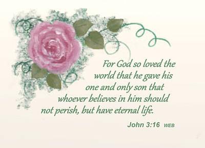 John 3.16 Painting - John 3 16 by Arlene Lundy