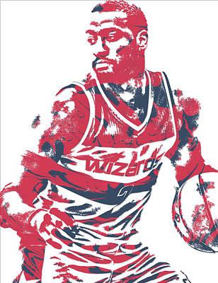 Washington Wizards Wall Art - Mixed Media - John Wall Washington Wizards Pixel Art 15 by Joe Hamilton