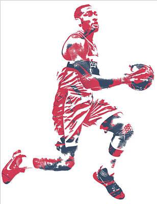 Washington Wizards Wall Art - Mixed Media - John Wall Washington Wizards Pixel Art 16 by Joe Hamilton