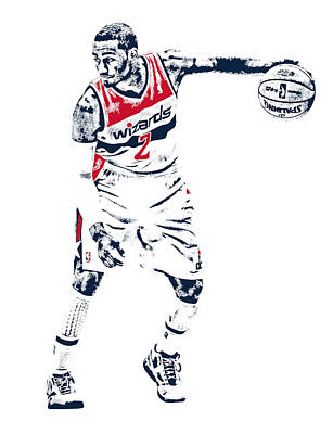 Basket Ball Mixed Media - John Wall Washington Wizards Pixel Art 2 by Joe Hamilton